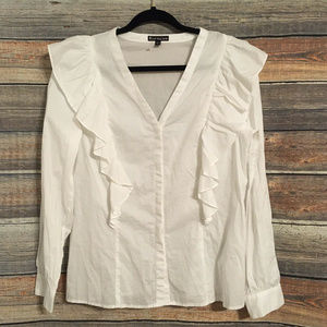 Express white ruffled button down top NWOT